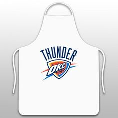 Oklahoma City Thunder Apron in White  https://allstarsportsfan.com/product/oklahoma-city-thunder-apron-in-white/  Screenprinted logo One Size fits all Warranty: 30 days