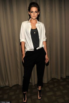 Tomboy: Kristen Stewart attends screening for On The Road in New York in shirt and trousers