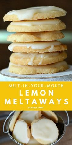 A delightful lemon meltaways cooke recipe! These cookies melt in your mouth, are easy to make, and glazed to perfection. Perfect for home & giving! Lemon Desserts, Köstliche Desserts, Delicious Desserts, Yummy Food, Healthy Food, Healthy Eating, Quick Cookies, Yummy Cookies, Recipe For Cookies