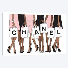 Chanel Shopping II Canvas Artwork by Martina Pavlova Button Canvas, My Canvas, Canvas Artwork, Canvas Art Prints, Canvas Fabric, Chanel Wall Art, Chanel Art, Chanel Logo, Chanel Canvas