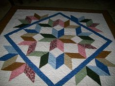 Multi-Colored Queen Size Carpenter Star Quilt by CarolsQuiltsetc