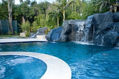 Pool with slide and waterfall  #Pool