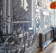 Hall mural by Charlotte Mann, in the home of writer India Knight. (2008, 3x9 metres)