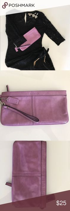 Coach pink/lavender leather clutch Pretty and functional pink leather Coach clutch. Great for casual or special occasion use. Coach Bags Clutches & Wristlets