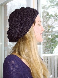 9e46f2c1842 Prints   Needles  Slouchy Knit Beret    Free Knitting Pattern