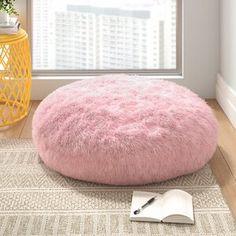 Hashtag Home Elijah Pouf Floor Pillow Color: Light Pink Cute Bedroom Decor, Teen Room Decor, Room Ideas Bedroom, Girl Apartment Decor, Teen Girl Bedrooms, Girls Pink Bedroom Ideas, Light Pink Bedrooms, Pink Room, Aesthetic Room Decor