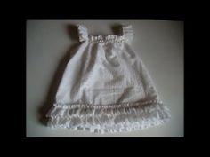 Vestido infantil (Batizado) super fácil  n. 03 com molde de 1 a 12 anos - YouTube