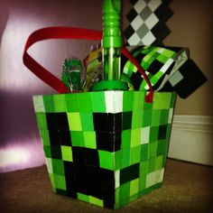 "Minecraft ""Creeper"" Easter Basket"