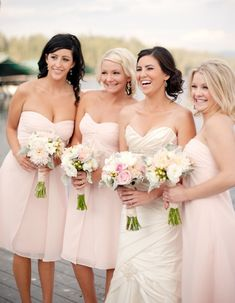 hort blush pink bridesmaid dresses