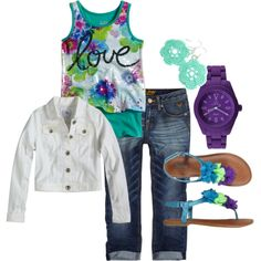 Girls outfit created on Polyvore.  Clothes from shopjustice.com