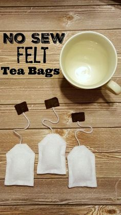 NO SEW Felt Tea Bags tutorial - EASY kid's craft & perfect for imagination play and little tea parties! Cute preschool / daycare gift too for their dress up costume play kitchen corner.