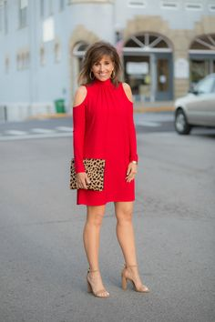 Cold Shoulder Dress (under $40) + Block Heel + Leopard Clutch