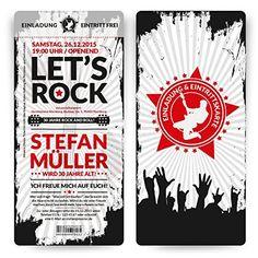 Birthday Invitation Cards as A Rock and Roll Ticket Card Invitation Invitation Ticket, Ticket Card, Invitation Design, Invitation Cards, Birthday Invitations, Rockstar Birthday, Diy Birthday, Birthday Cards, Rock And Roll