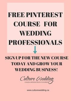 Join our FREE Pinterest course for Wedding Professionals and grow your wedding Business today! #weddingprofs #weddingplanners  http://culture-chic-pr.teachable.com/courses/boost-your-wedding-planning-business-with-pinterest?product_id=84357&coupon_code=FULL-PRICE-OFF&preview=logged_out