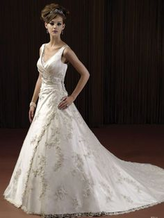 V-Neck with Shirring and Embroidery Embellishment Wedding Dress