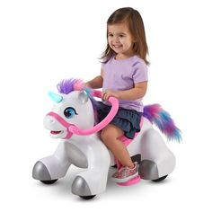 Rideamals Unicorn Ride-On Toy by Kid Trax, Toddler, Powered Toys For Girls, Kids Toys, Little Girl Toys, Apple Watch Accessories, Kids Ride On, Ride On Toys, Disney Frozen, Little Pony, New Friends