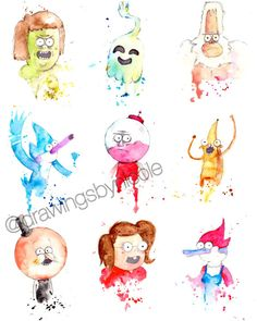 SET of 9 mini prints 5x7 inch inch inkjet print / Regular Show
