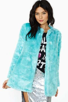 Candy Flip Faux Fur Coat - SO the thing about this...is that I already have one in electric blue leopard print...But  I love the frosty color of this one!