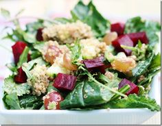 grape, avocado, beet, and baby kale salad with quinoa | choosing raw – vegan and raw recipes