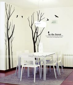 birch tree wall decals | In The Forest 5 Birch Tree With Birds Wall Stickers | Tree Wall Decals