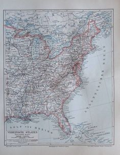 1897 Vereinigte Staaten östliches Blatt USA -  alte Karte Lithografie old map