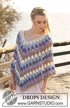 "Crochet DROPS Poncho in 2 threads ""Alpaca"". Size S-XXXL . Granny lurve...... thanks so xox"