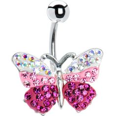 Pink Austrian Crystal Butterfly Belly Ring #piercing #pink #bellyring #butterfly #deal $5.99