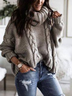Knitwear Fashion, Sweater Fashion, Sweater Outfits, Casual Outfits, Fashion Outfits, Fashion Women, Style Fashion, Fashion Design, Loose Knit Sweaters