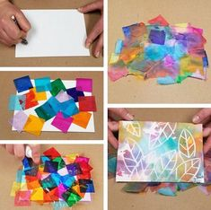 Camping Crafts, Fun Crafts, Color Crafts, Arte Elemental, Tissue Paper Crafts, Painting Activities, Painting Crafts For Kids, Painting Art, Toddler Art