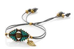 Green and Bronze Evil Eye Bracelet -Minimalist Boho inspired bracelet - Seed Bead Evil Eye Bracelet - KTC-317
