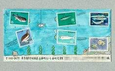 Envelope. Let's Go Fishing Mail Art!