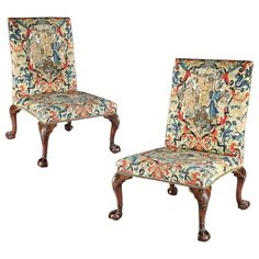 Pair of George II Mahogany Carved Side Chairs with Needlework Upholstery