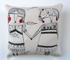 embroidery pillow - friends being there for each other