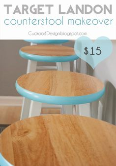 Target Landon Counter Stool Makeover - could do these with the boring plant stands we have. Furniture Projects, Furniture Makeover, Home Projects, Diy Furniture, Chair Makeover, Kitchen Furniture, Trendy Furniture, Ideas Hogar, Ideias Diy