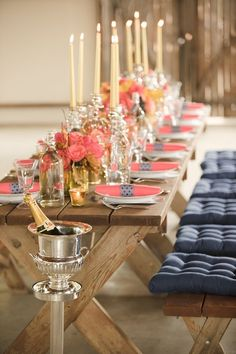 pink and navy engagement party picnic table with cushions @myweddingdotcom