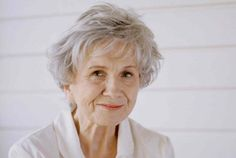 Alice Munro won the 2013 Nobel Prize in Literature. We carry many of her books here, and currently have a display of her works up in the library in honor of her award, come check them out! Alice Munro, Alfred Nobel, Nobel Prize In Literature, Award Winner, White Hair, Worlds Of Fun, Crime, Awards, Cinema