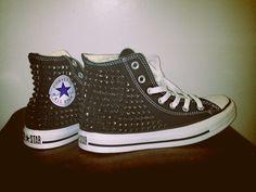Black Super Studded Converse. via The Cools