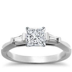 Three Stone Princess Cut Tapered Baguette Diamond Engagement ring In 18K White Gold