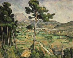 """""""Mont Sainte-Victoire and the Viaduct"""".  Utiliza un sistema organizado de capas para la construcción de una serie de planos horizontales, que construyen la dimensión y atraen al espectador en el paisaje."""