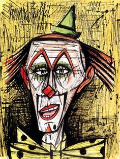 Clown fond orange, mixed media on paper, 65 x 50 cm, 1991. Musée Bernard Buffet.