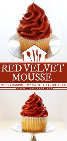 Kick-off your love month celebration with these Red Velvet Mousse with Raspberry Vanilla Cupcakes! This delicious Valentine's day dessert recipe is light, rich, and decadent. The combination of these easy Valentine's day treats pack a flavorful punch to your taste buds! Red Velvet Desserts, Red Velvet Recipes, Cupcake Recipes, Cupcake Cakes, Dessert Recipes, Baker Cake, I Am Baker, Valentines Day Desserts, Vanilla Cupcakes