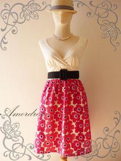 15%OFF- Amor Vintage Inspired- Vintage Retro- You are My Sunshine-Pink Floral Dress Cocktail Cotton Dress Free Belt Party or Everyday Dress
