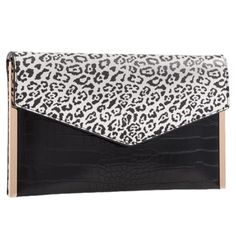 Black and white animal print and mock croc slim envelope style clutch bag / shoulder bag with gold tone trim to the side. The bag fastens with a flap Leopard Print Clutch Bag, Plain Black, Black And White, Pashmina Wrap, Prom Accessories, Animal Print Outfits, Clutch Bags, Free Uk, Metal Chain