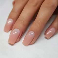 REPOST - - - - Peachy Nude with Glitter Ombre on tapered Square Nails - - - - Nail Design by Cute Acrylic Nails, Cute Nails, Pretty Nails, Acrylic Nails Glitter Ombre, Nude Nails With Glitter, Peach Colored Nails, Sparkle Nails, Perfect Nails, Gorgeous Nails