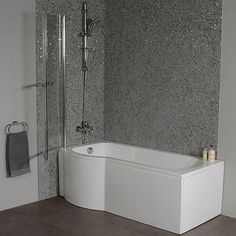 The Dee left hand 1600 P shape shower bath is an exceptional shower/bathing solution for any modern bathroom. Complete with a curved shower screen and acrylic front panel. Bathroom Shower Panels, Bathroom Paneling, Master Bath Shower, Bathroom Mold, Bathroom Cabinets, Budget Bathroom Remodel, Small Bathroom Renovations, Bathroom Remodeling, Beautiful Bathrooms