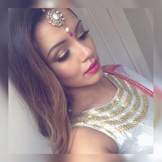 """""""Sangeet time Wearing my gorgeous anarkali from ✨"""" Hairstyles For Gowns, Celebrity Hairstyles, Kaushal Beauty, M Instagram, Cap And Gown, Hair Reference, Anarkali, Saree, Red Lips"""
