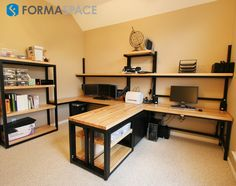 Custom Home Office Suite | FORMASPACE | Before this home office makeover, the room lacked flexibility, spatial efficiency, and storage options. Once Formaspace created a custom solution, our client had a place for all of his office equipment and space to stay organized.