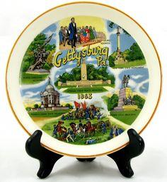 GETTYSBURG PA Pennsylvania vintage Souvenir PLATE Eternal Light Peace Memorial