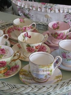 pretty bone china tea cups & saucers