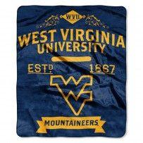 """WVU West Virginia Mountaineers """"Label"""" Raschel Throw"""